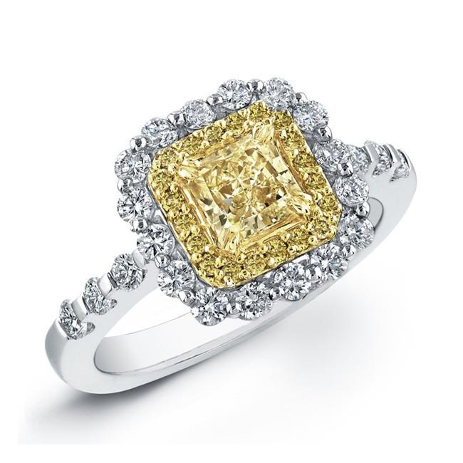 1 1/2ctw. Radiant Fancy Yellow Diamond Ring
