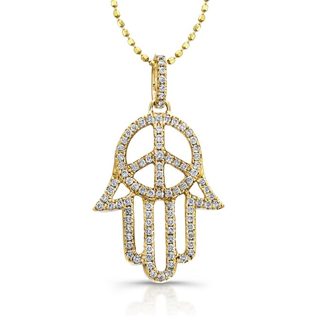 14k yellow gold hamsa peace sign necklace 14k yellow diamond hamsa peace sign mozeypictures Image collections