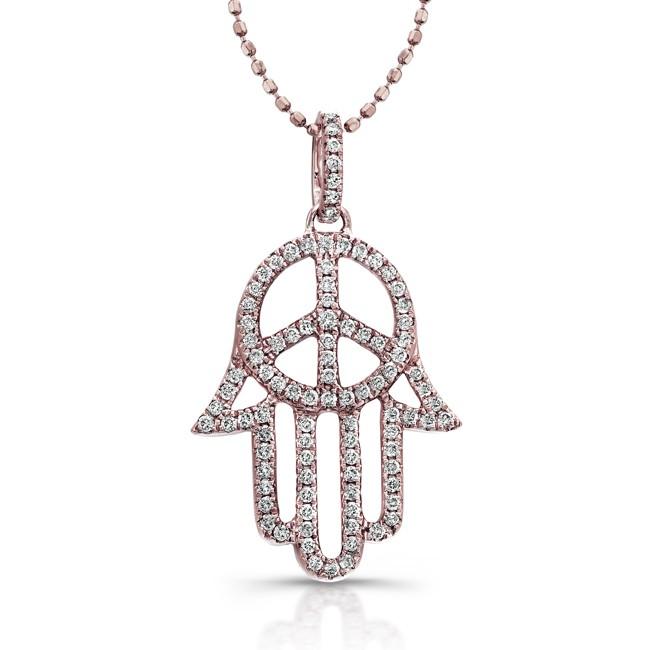 Diamond hand of peace hamsa pendant diamond hand of peace hamsa pendant 14k rose aloadofball Choice Image