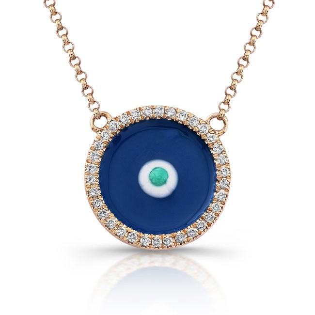 14K Rose Gold Dark Blue Enamel Evil Eye Necklace
