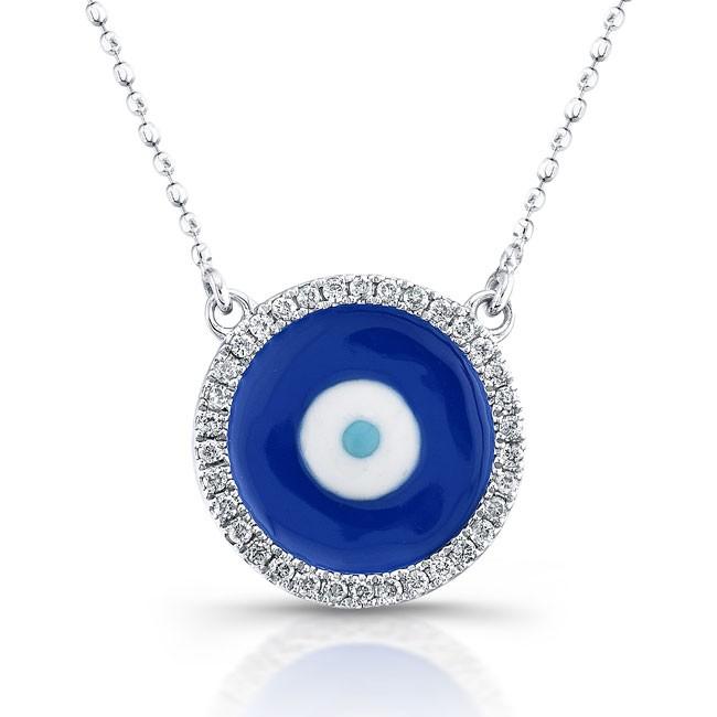 14K White Gold Dark Blue Enamel Evil Eye Necklace