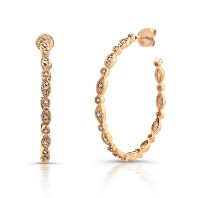 14k Rose Gold Vintage Diamond Pave Hoop Earrings