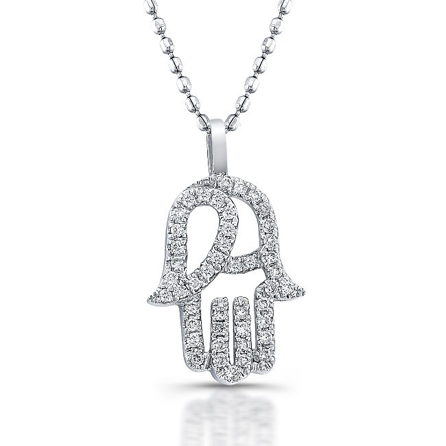 Diamond hamsa pendant 14k white gold diamond hamsa pendant 14k white gold 15 ct mozeypictures Images