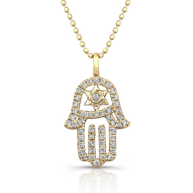 14kt yellow gold diamond hamsa star of david necklace for Star of david necklace mens jewelry