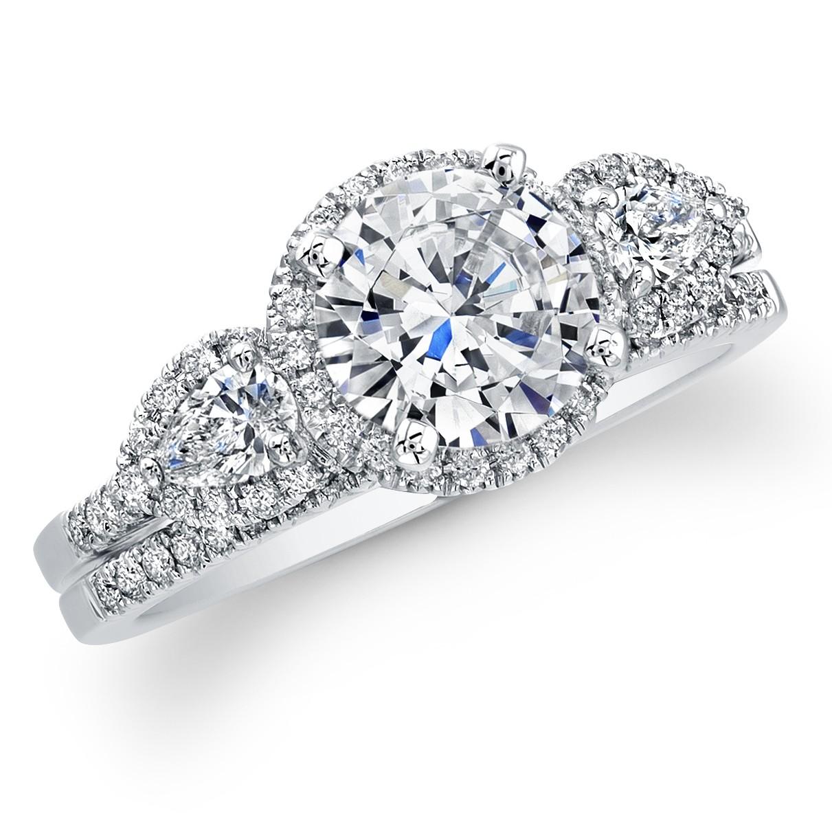 diamond 3 stone engagement ring set certified. Black Bedroom Furniture Sets. Home Design Ideas