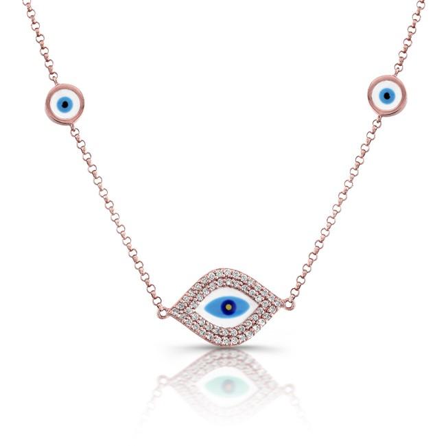 14k Rose White-Blue Enamel Evil Eye Necklace