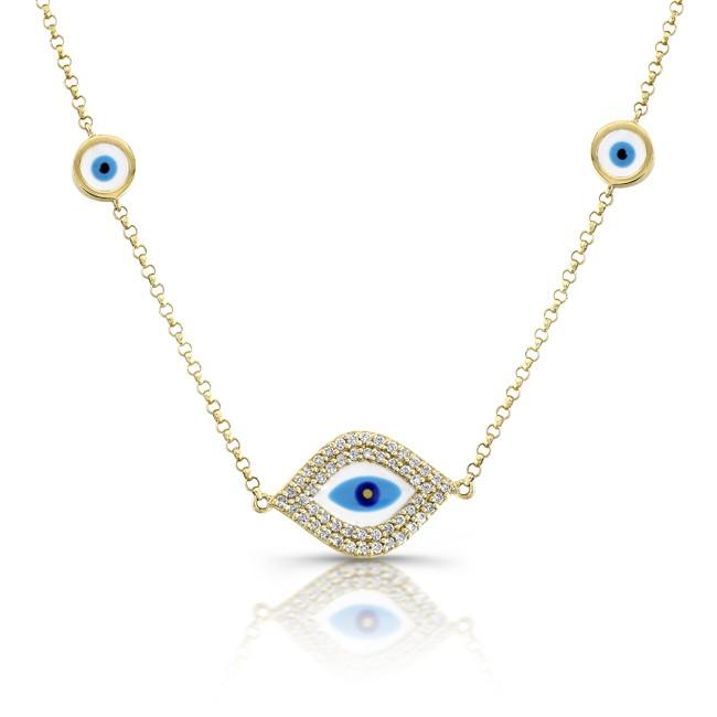 14k YG Whie-Blue Enamel Evil Eye Necklace
