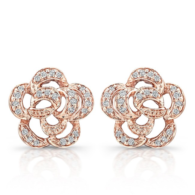 cfe9bc8d54e 14k Rose Gold Diamond Flower Earrings