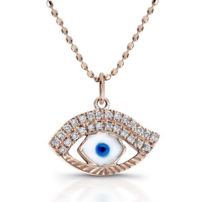 14k Rose White-Blue Enamel Evil Eye Pendant