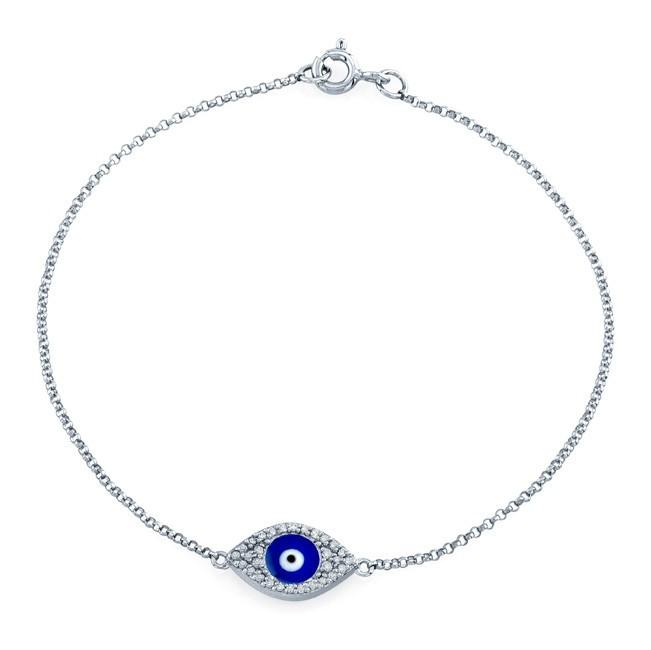 14k White Gold Diamond Evil Eye - Blue Enamel Bracelet