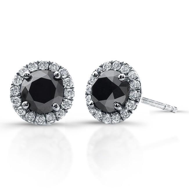 3 4 Carat Black Diamond Stud Earrings With Halo