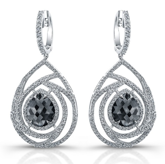 18k White Gold Rose Cut Brown Diamond Chandelier Earrings – Black Diamond Chandelier Earrings