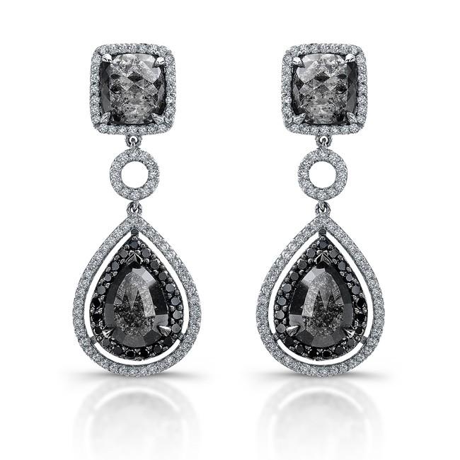 18k white gold black diamond drop earrings. Black Bedroom Furniture Sets. Home Design Ideas