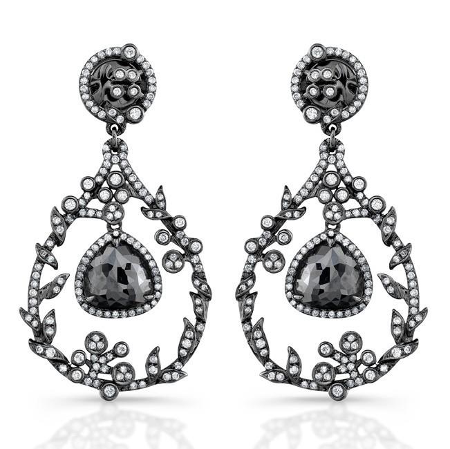Black Gold Rose Cut Black Diamond Chandelier Drop Earrings