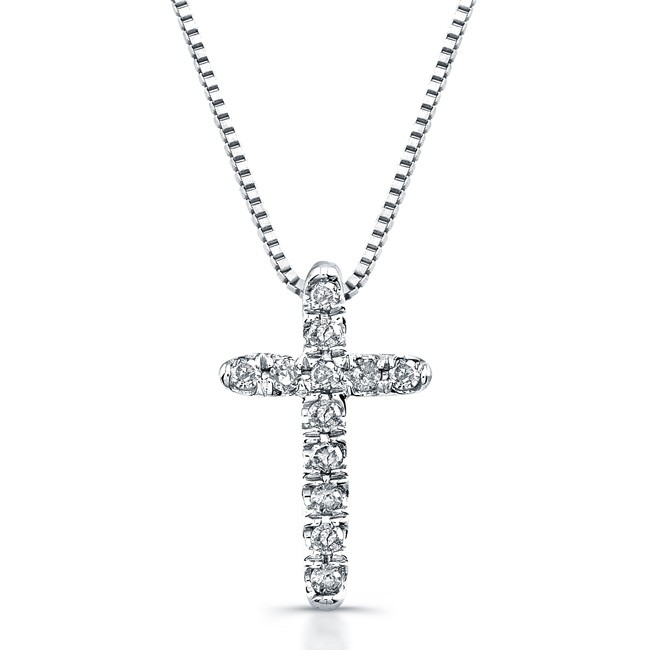 14k White Gold Baby Cross Necklace