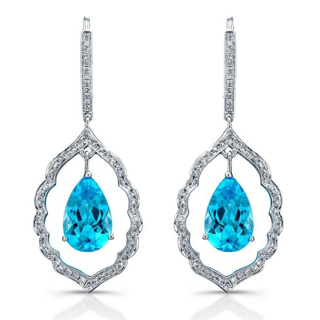 Pear Shaped Blue Topaz Diamond Earrings