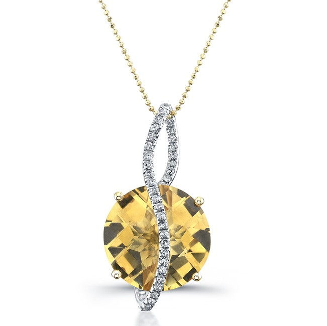 14k Yellow Gold Citrine Diamond Pendant