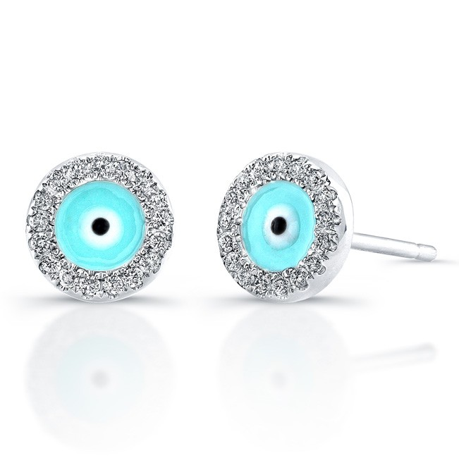 14k White Gold Diamond Evil Eye Earrings