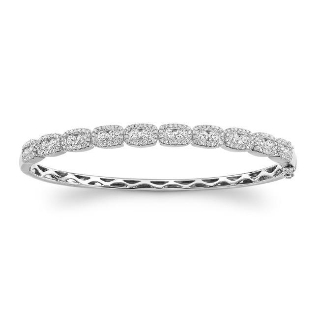14K WG channel-prong diamond bangle 1.80ctw