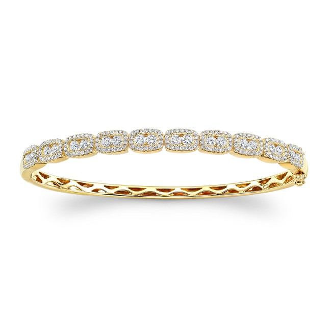 14K Yellow Gold channel-prong diamond bangle 1.80ctw