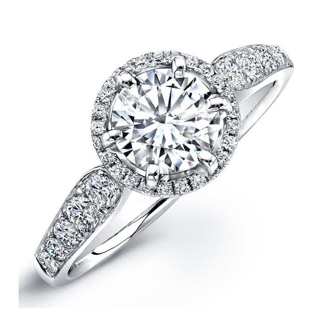 Halo Bridal Ring With Pave Shank