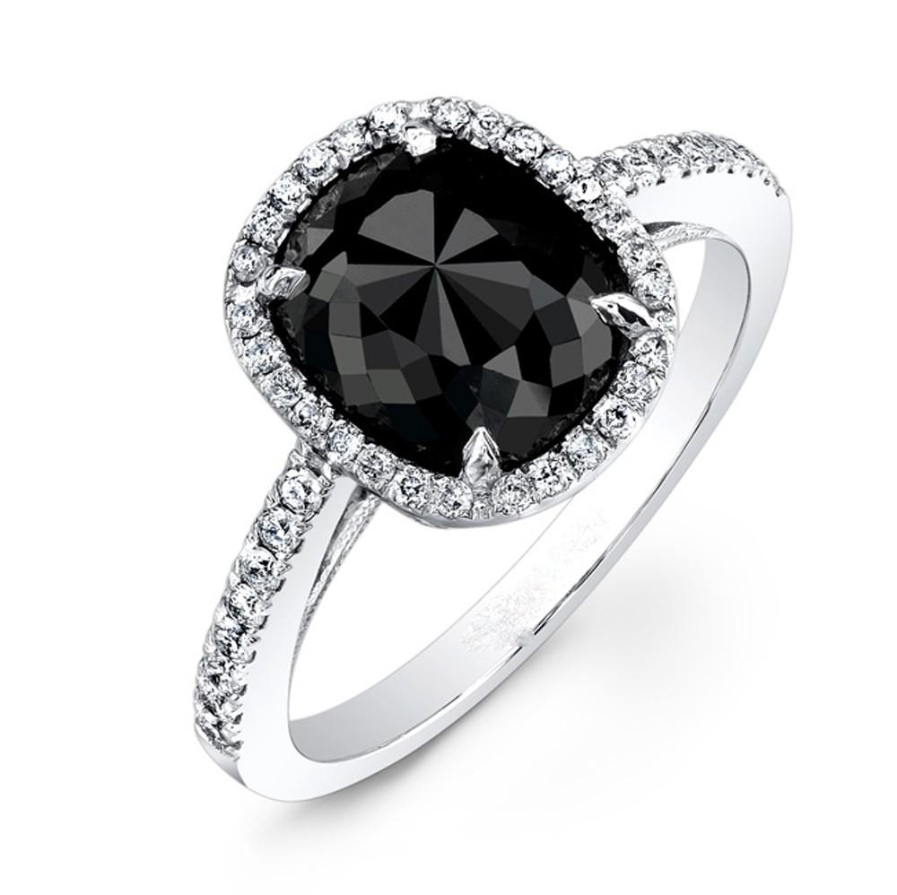 2.85 Carat Cushion Black Diamond Engagement Ring