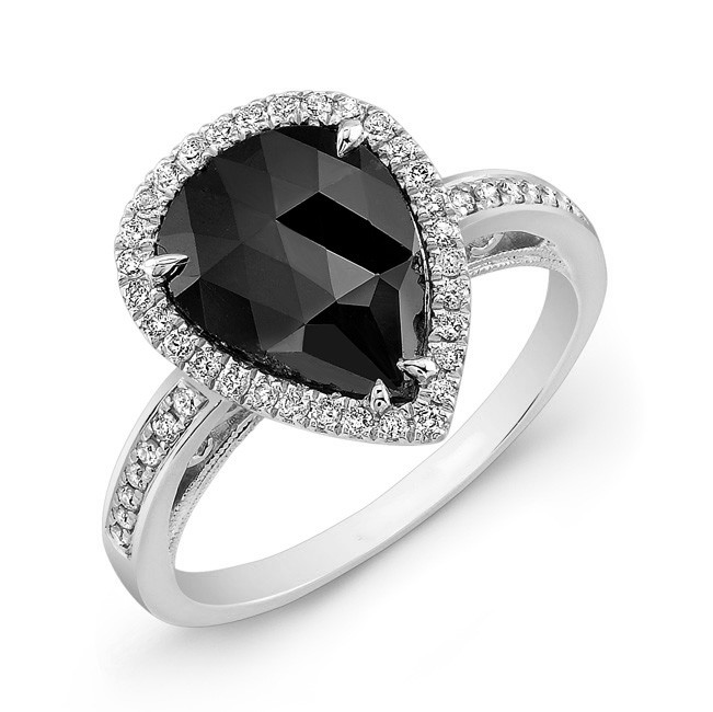 Pear Shape Black Diamond Ring 26176-w