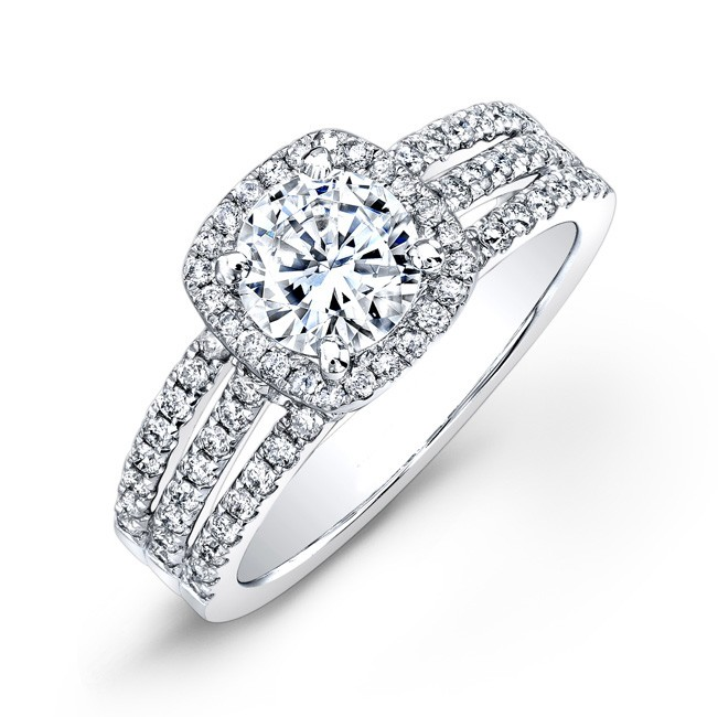 Halo Bridal Ring With Wide Shank