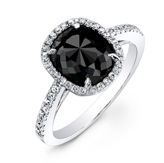 1 17ct White Gold Rose Cut Black Diamond Engagement Ring With 44
