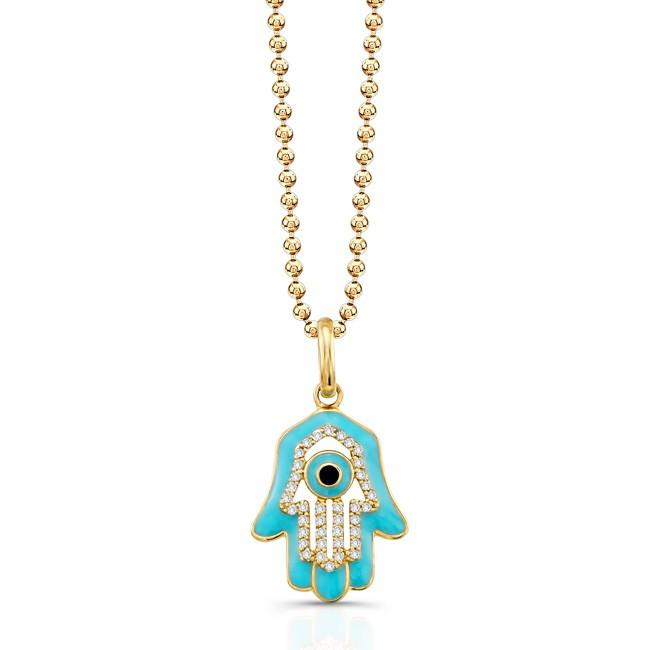 14K Yellow Diamond Hamsa Turquoise Enamel