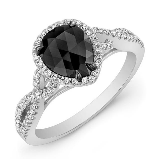 Pear Shape Black Diamond Ring 28471-W