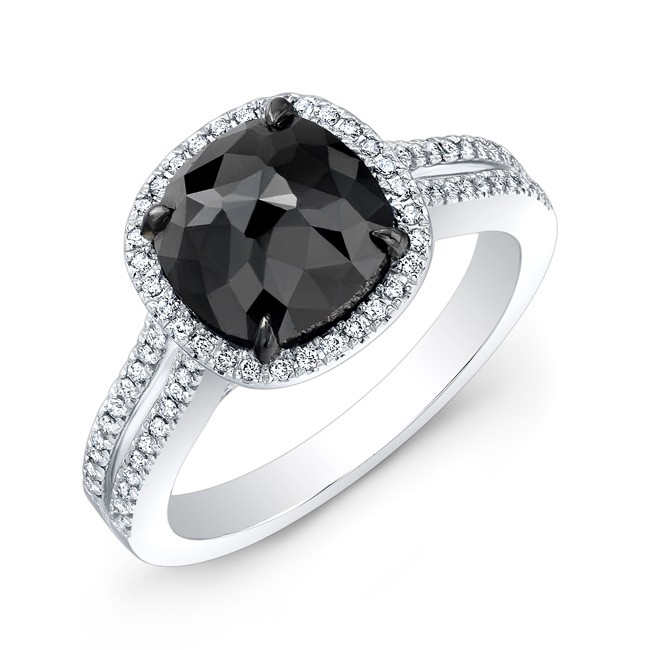 1 1/2ct Cushion Black Diamond Split Ring