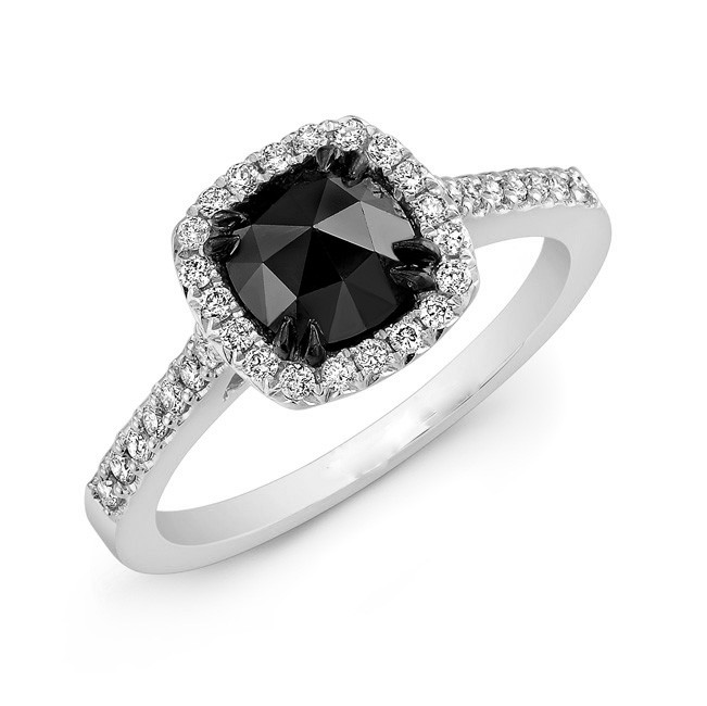 Classic Halo Black Diamond Ring 1ct