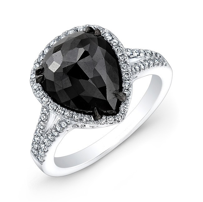 1.67ct Pear Shape Black Diamond Ring
