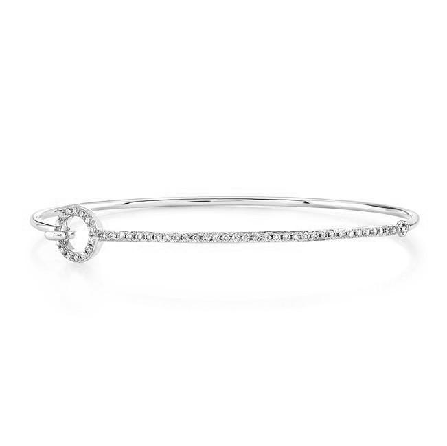 14k White Gold Diamond O Shape Bangle