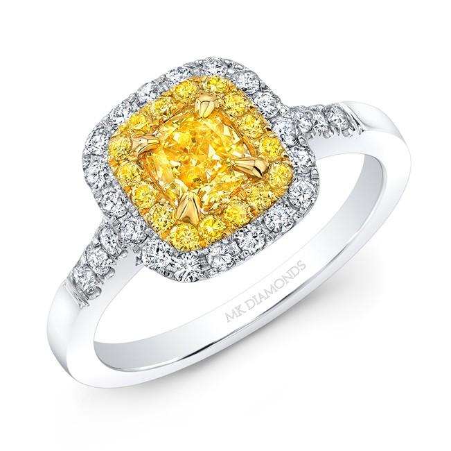 Fancy Yellow 1/2 Carat Cushion Diamond Engagement Ring 691862