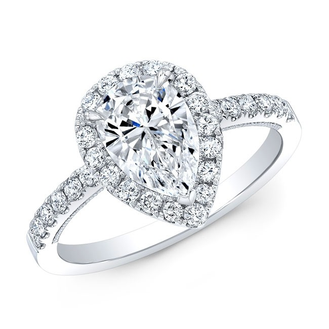 .46 Carat Pear Shape Halo Engagement Ring