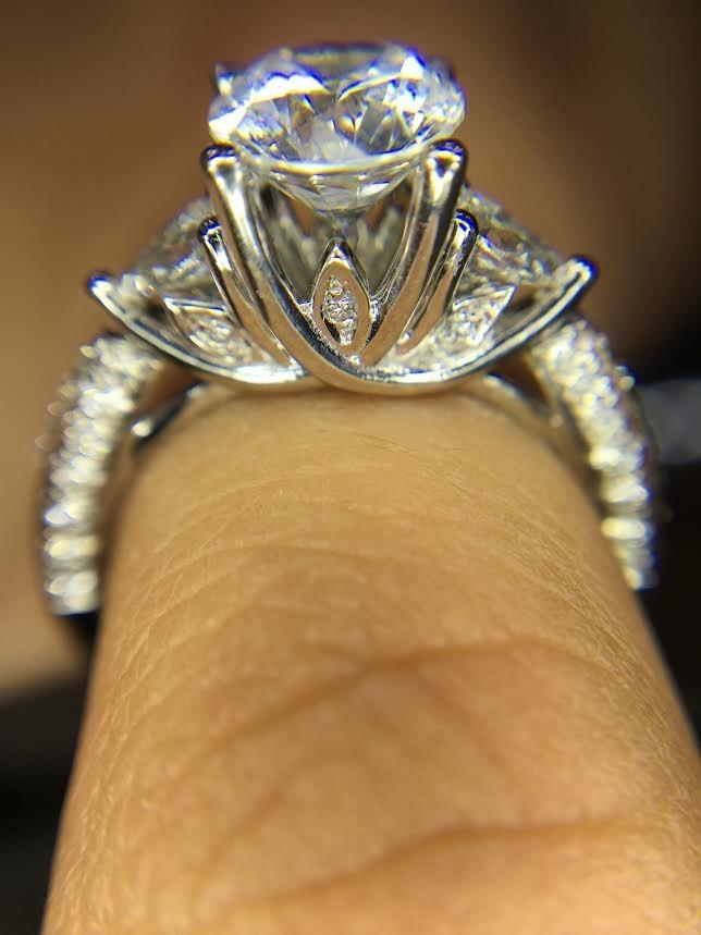 Three Stone Engagement Ring Pear Shape Side Stones