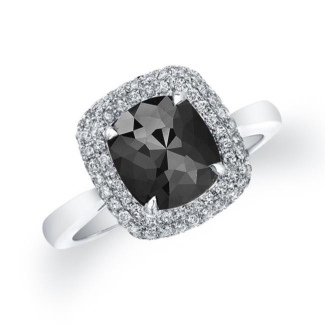 Black Diamond Cushion Ring 22829