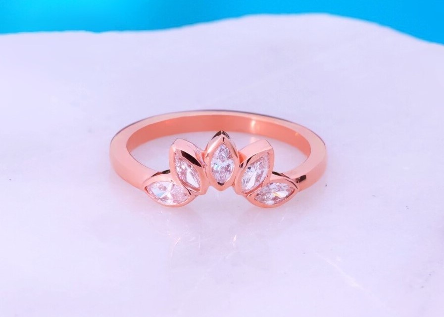 Five Stone Marquise rose Gold wedding band