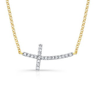 Yellow Gold Curved Diamond Cross Necklace