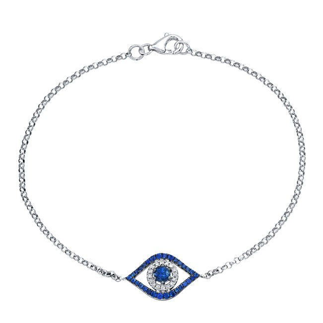 14k White Gold Evil Eye Bracelet With Diamonds And A Shire Center