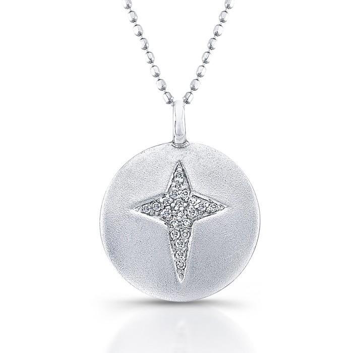 Diamond Disk Cross Necklace 0.06CTW