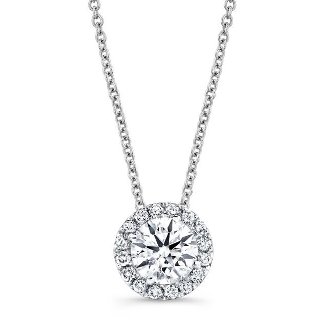 Diamond Halo Necklace With 1/2 CTW