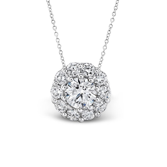 Diamond halo 14k white gold necklace 34 ctw white gold diamond halo pendant 34ct aloadofball Gallery