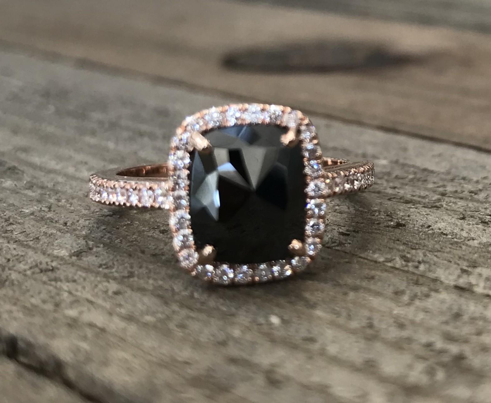 1 3/4ct Cushion Black Diamond Rose Gold Ring