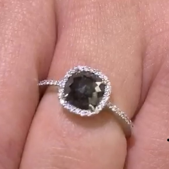 Black diamond halo ring