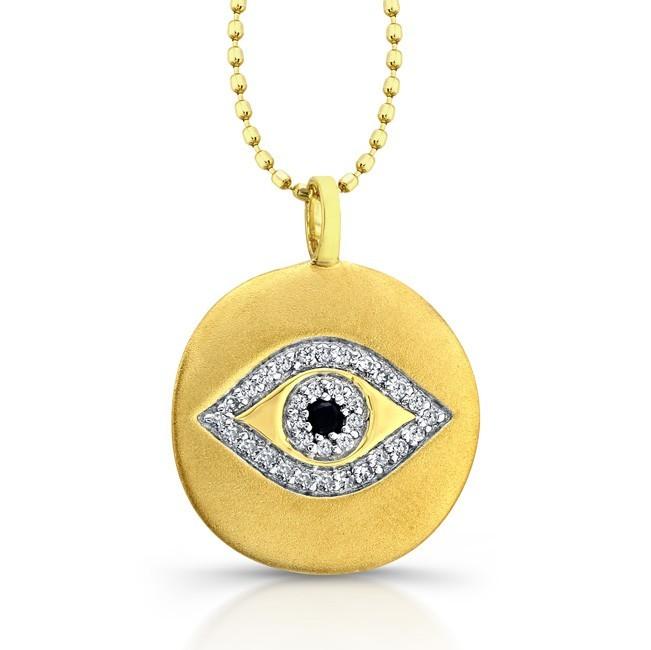 14k Yellow Gold Evil Eye Diamond Disc Necklace