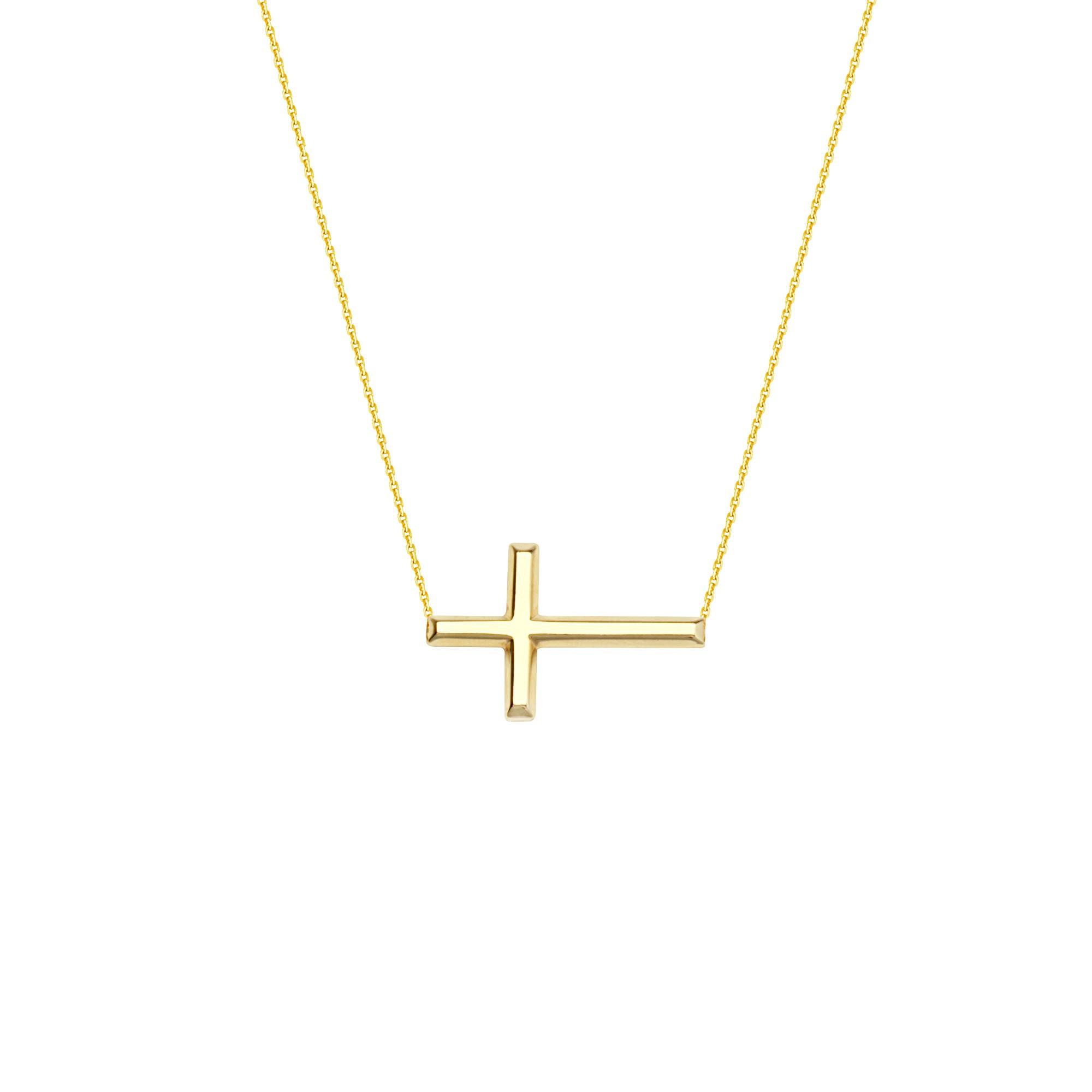 Yellow Gold Side Ways Cross