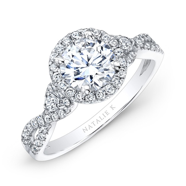 18k White Gold Halo Diamond Engagement Ring with Pear Shaped Side Stones